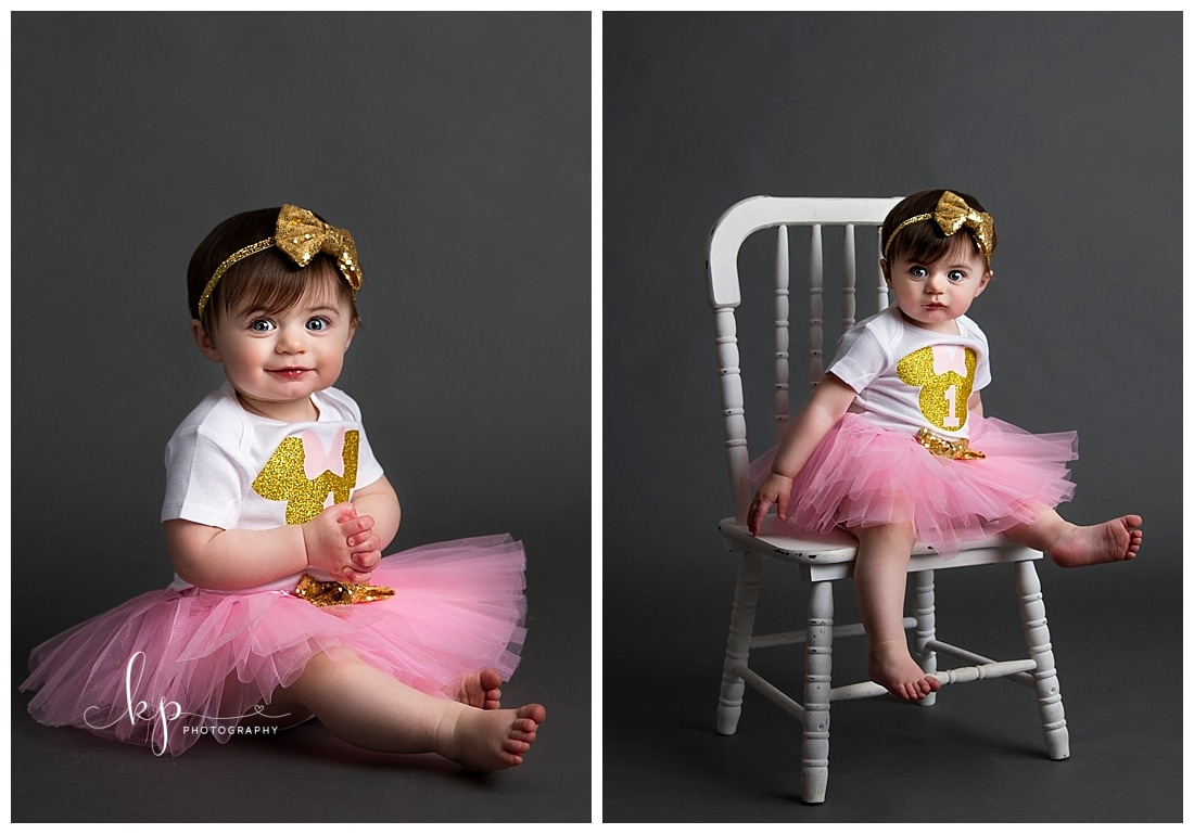 1 year old girl portrait milestone session
